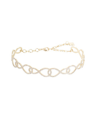 Bcbg Maxazria Pave Looped Choker Necklace-GOLD-One Size