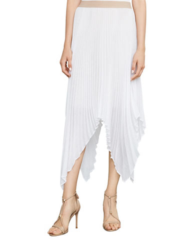 Bcbg Maxazria Rumi Asymmetric Pleated Skirt-WHITE-Large