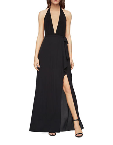 Bcbg Maxazria Angeline Deep V-Halter Gown-BLACK-0
