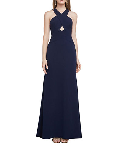 Bcbg Maxazria Salome Cutout Fit-and-Flare Halter Gown-NAVY-4