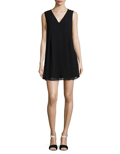 Bcbgeneration Embroidered Heart Mini Dress-BLACK-X-Small