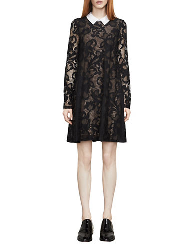 Bcbg Maxazria Roxine Floral Lace Jacquard Dress-BLACK-XX-Small