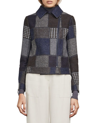 Bcbg Maxazria Patchwork Wool-Blend Moto Jacket-BLUE-Medium