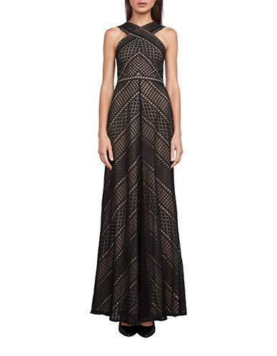 Bcbg Maxazria Bernadette Halter Lace Gown-BLACK-4