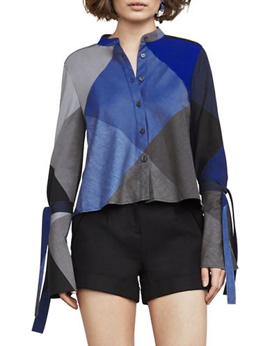 Bcbg Maxazria Marrisa Colourblocked Plaid Cotton Shirt-BLUE MULTI-Small