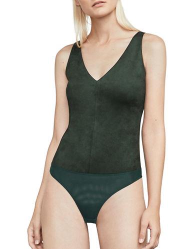 Bcbg Maxazria Mya Faux Suede Bodysuit-GREEN-Small