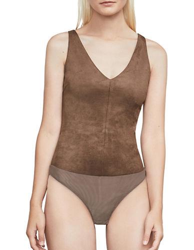 Bcbg Maxazria Mya Faux Suede Bodysuit-BEIGE-XX-Small