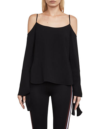 Bcbg Maxazria Nicholette Cold Shoulder Blouse-BLACK-Large