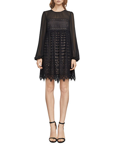 Bcbg Maxazria Geometrical Lace A-line Dress-BLACK-Medium