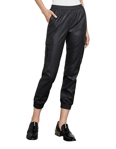 Bcbg Maxazria Cian Faux Leather Tapered Cargo Crop Pants-BLACK-XX-Small