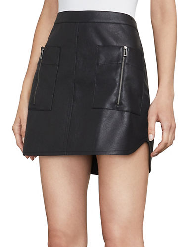 Bcbg Maxazria Sabina Faux Leather A-Line Miniskirt-BLACK-Small