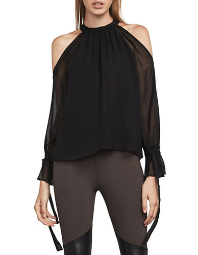 Bcbg Maxazria Chiffon Silk Cold-Shoulder Blouse-BLACK-XX-Small