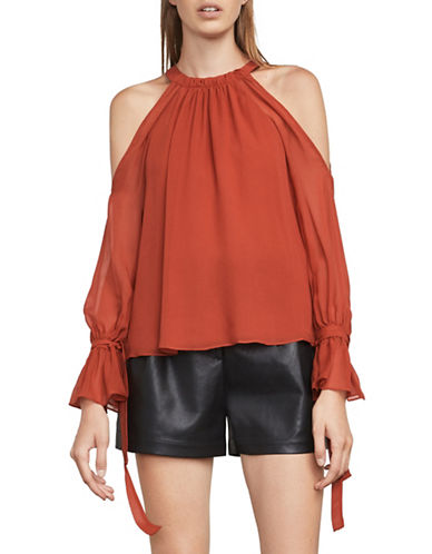 Bcbg Maxazria Chiffon Silk Cold-Shoulder Blouse-ORANGE-XX-Small