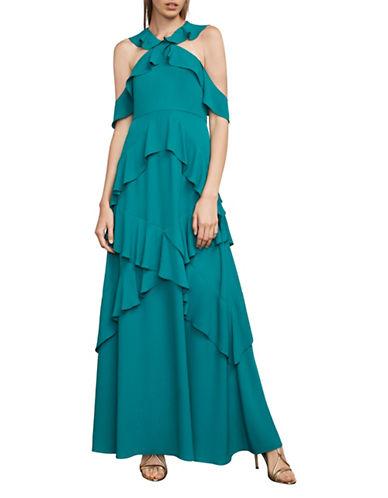 Bcbg Maxazria Ruffled Halter Gown-GREEN-0
