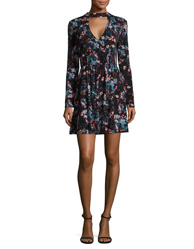 Bcbgeneration Floral Choker Mini Dress-BLACK MULTI-X-Small
