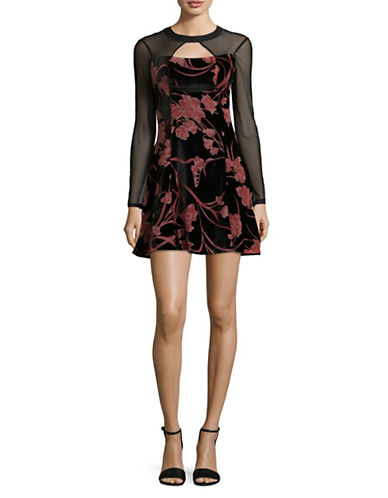 Bcbgeneration Floral Burnout Mini Dress-BLACK COMBO-8