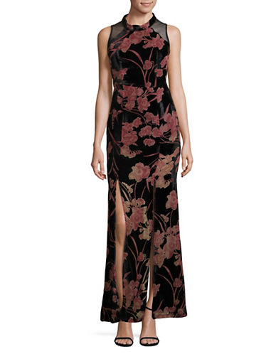 Bcbgeneration Sleeveless Burnout Gown-BLACK COMBO-4