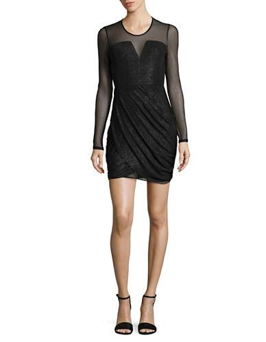 Bcbgeneration Metallic Draped Dress-BLACK-Small