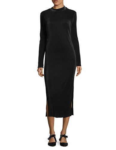 Bcbgeneration Ribbed Midi Dress-BLACK-Medium