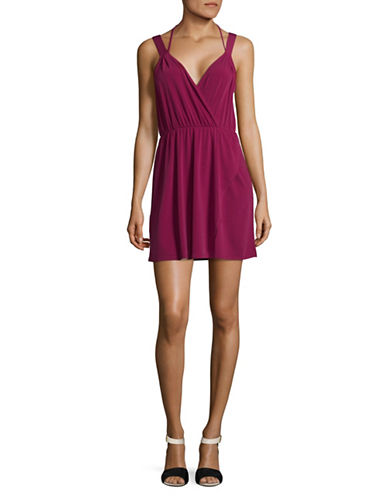 Bcbgeneration Halter Surplice Mini Dress-RED-Medium
