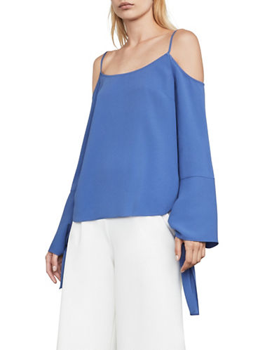 Bcbg Maxazria Nicholette Cold Shoulder Blouse-BLUE-Large