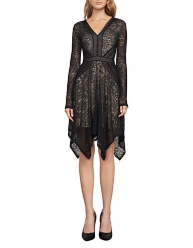 Bcbg Maxazria Alex Lace Handkerchief Dress-BLACK-Large