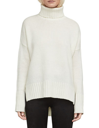 Bcbg Maxazria Split Hem Turtleneck-WHITE-Medium
