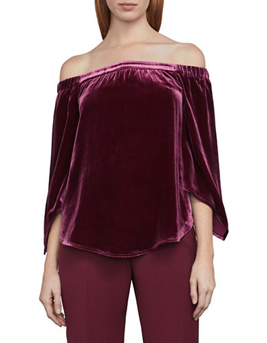 Bcbg Maxazria Velvet Off-The-Shoulder Top-PURPLE-Large