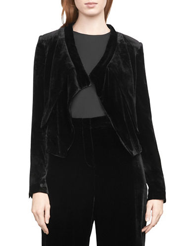 Bcbg Maxazria Lloyd Velvet Asymmetrical Jacket-BLACK-Medium