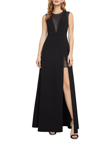 Bcbg Maxazria Valentine Metallic Burnout A-Line Gown-BLACK-12