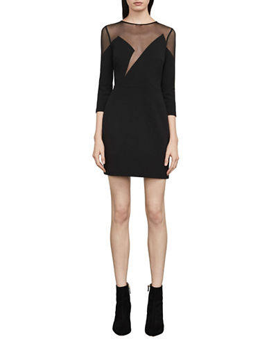 Bcbg Maxazria Edesa Sheer-Neck Sheath Dress-BLACK-4