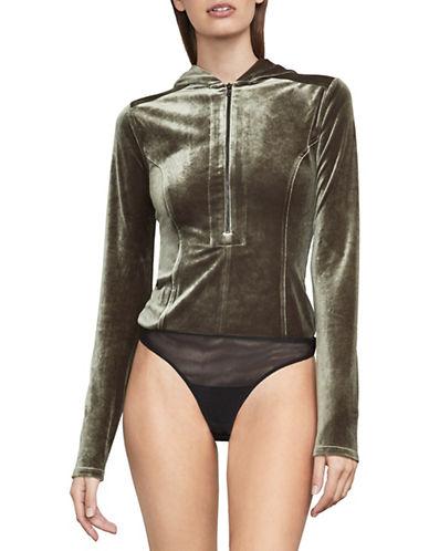 Bcbg Maxazria Obree Velvet Hooded Bodysuit-GREEN-Medium