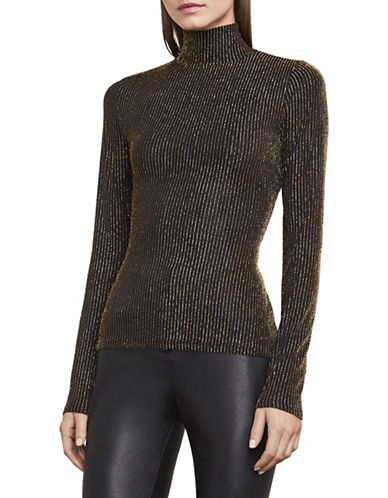 Bcbg Maxazria Brinne Metallic Turtleneck Top-BLACK/GOLD-XX-Small