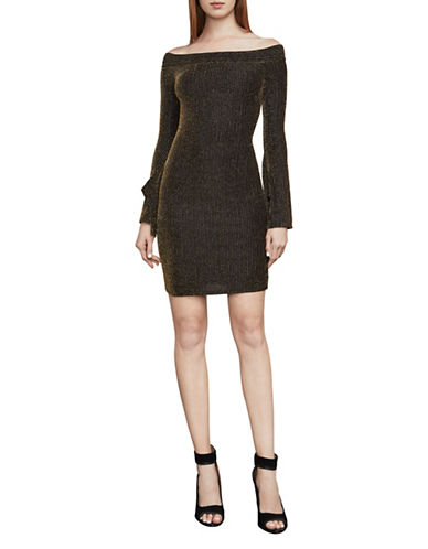 Bcbg Maxazria Ellena Metallic Off-The-Shoulder Bodycon Dress-GOLD/BLACK-XX-Small