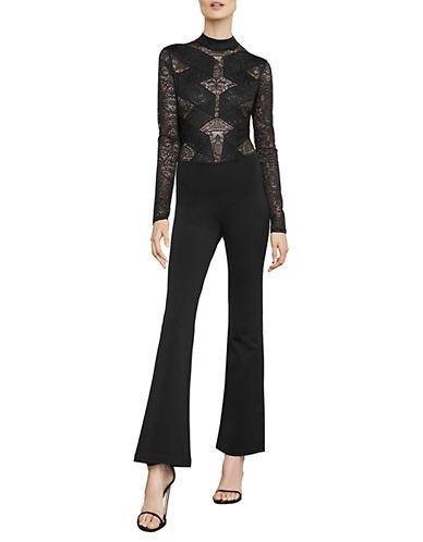 Bcbg Maxazria Elshane Lace Trim Jumpsuit-BLACK-Large