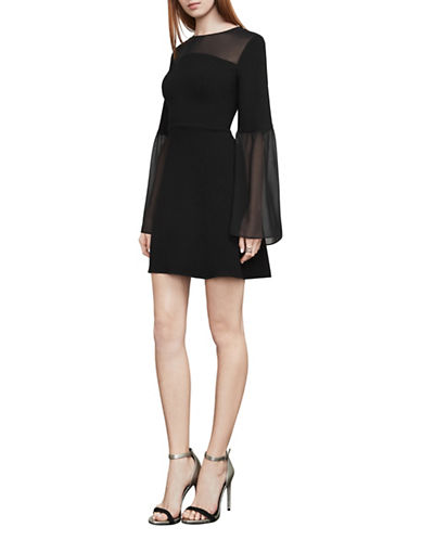 Bcbg Maxazria Finley Sheer-Panel A-Line Dress-BLACK-X-Small