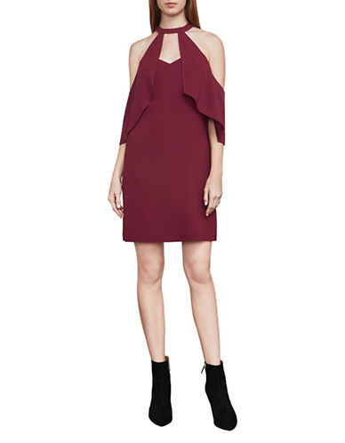 Bcbg Maxazria Duran Cold-Shoulder Halter Dress-CRANBERRY-Medium