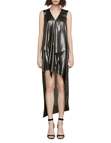 Bcbg Maxazria Tara Metallic Hi-Lo Hem A-Line Dress-SILVER-XX-Small