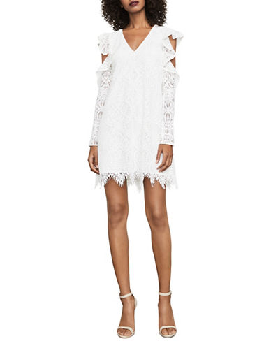 Bcbg Maxazria Marian Cold-Shoulder Lace Dress-WHITE-Medium