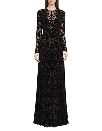 Bcbg Maxazria Selma Velvet Burnout Evening Gown-BLACK-X-Small