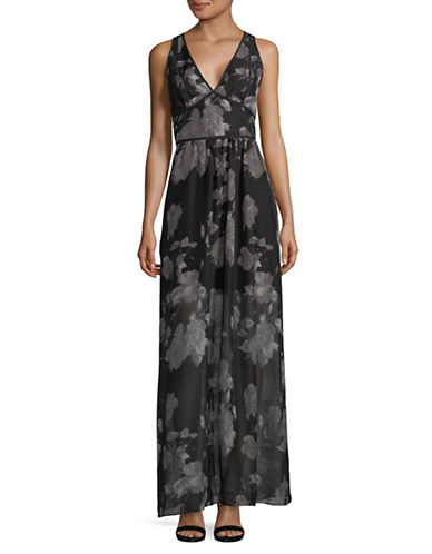 Bcbgeneration Floral-Print V-Neck Maxi Dress-BLACK-0