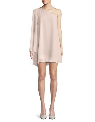Bcbgeneration One-Shoulder Chiffon Shift Dress-PINK-X-Small