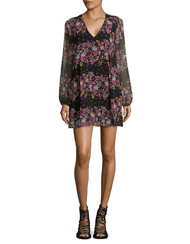 Bcbgeneration Floral Peasant Sleeve Dress-BLACK-X-Small