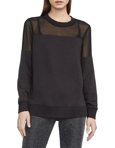 Bcbg Maxazria Martina Mixed Media Sweatshirt-BLACK-Medium