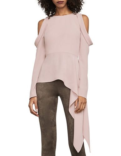Bcbg Maxazria Este Cold-Shoulder Peplum Top-PINK-Small
