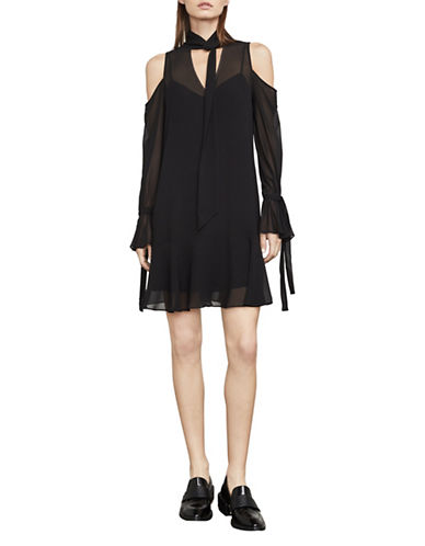 Bcbg Maxazria Arieta Cold-Shoulder A-Line Dress-BLACK-Medium