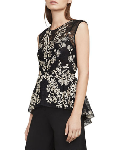 Bcbg Maxazria Jaxie Embroidered Lace Peplum Top-BLACK-Small