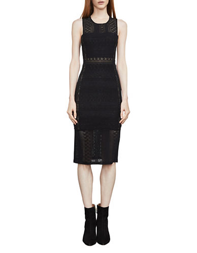 Bcbg Maxazria Sita Geometric Lace Dress-BLACK-XX-Small