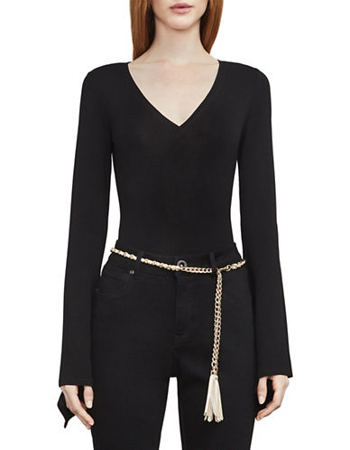 Bcbg Maxazria Ferris Deep-V Bodysuit-BLACK-Medium
