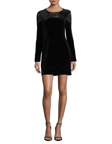 Bcbgeneration Long Sleeve Velvet Sheath Dress-BLACK-Large